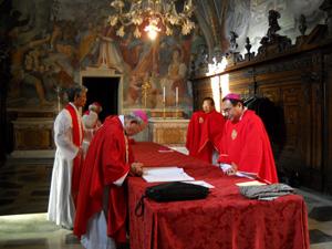 ラテラノ教会香部屋での司教たち