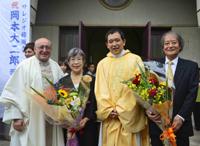 ご両親と管区長アルド・チプリアニ神父